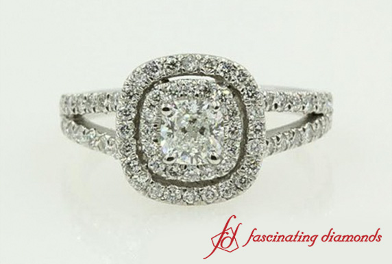Cushion Cut Diamond Double Halo Engagement Ring In White Gold