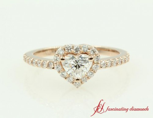 Pink Gold Halo Diamond Engagement Ring