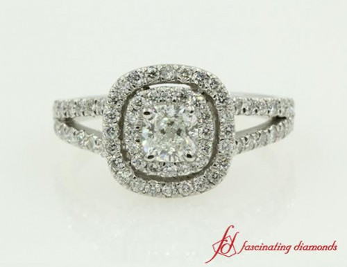 Split Shank Cushion Cut Ring