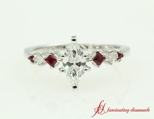 Marquise Diamond And Ruby Petite Engagement Ring