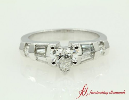 Heart Shaped Diamond Side Stone Ring