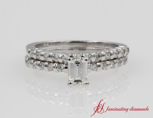Emerald Cut And Round Diamond Wedding Ring Bar Set