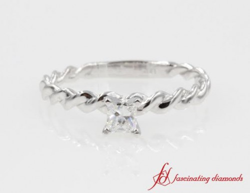 Twisted Rope Princess Cut Diamond Ring