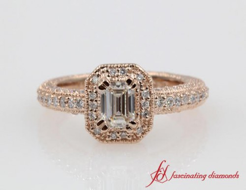 Emerald Cut Traditional Halo Engagement Ring