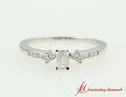 Emerald Cut diamond Petite Engagement Ring