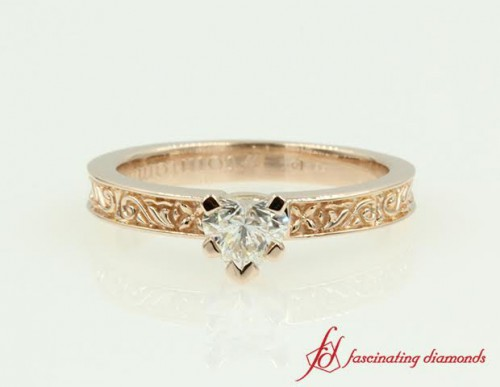 Rose Gold Heart Diamond Solitaire Ring