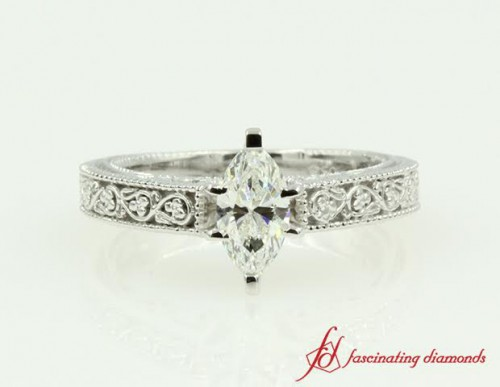 Marquise Solitaire Diamond Engraved Ring