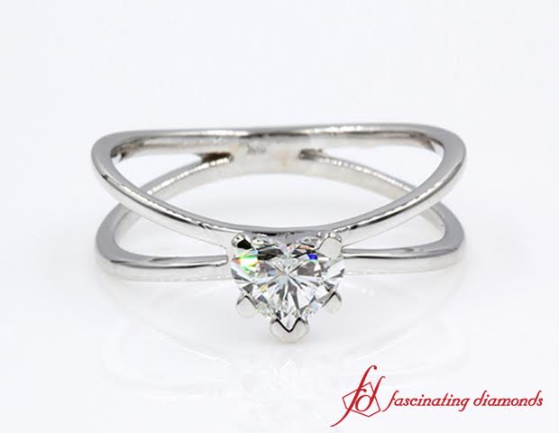 Split Shank Heart Diamond Ring