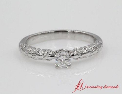 Cushion Cut Single Diamond Ring