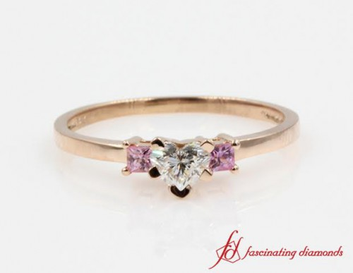 Natural Pink Sapphire Three Stone Diamond Ring
