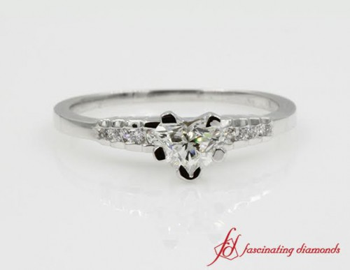 Petite Heart Shaped Engagement Ring For Her