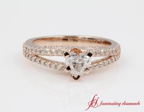 Heart Shaped Diamond Side Stone Engagement Ring