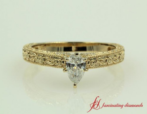Pear Shaped Single Diamond Ring