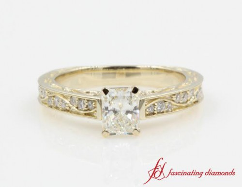 Radiant Diamond Filigree Engagement Ring