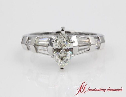 Marquise Cut Diamond Side Stone Ring