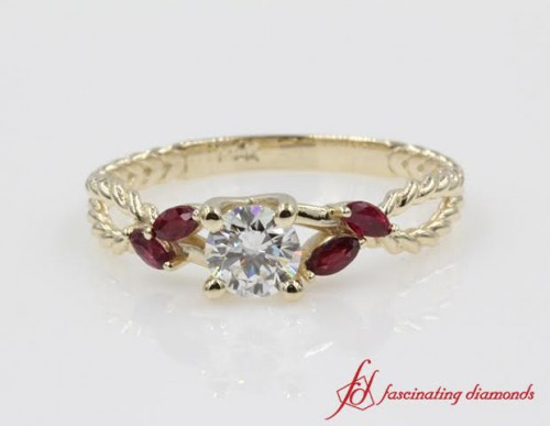 Round Diamond & Ruby Split Ring