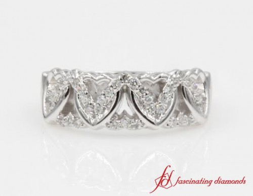 Round Diamond Womens Wedding Band