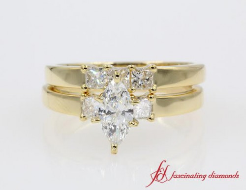 Yellow Gold Three Stone Wedding Ring Set