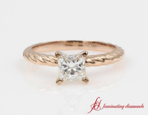 Rope Diamond Engagement Ring