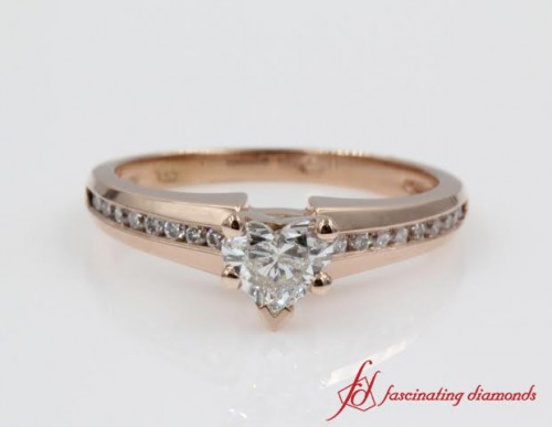 Beautiful Channel Heart Shaped Diamond Ring