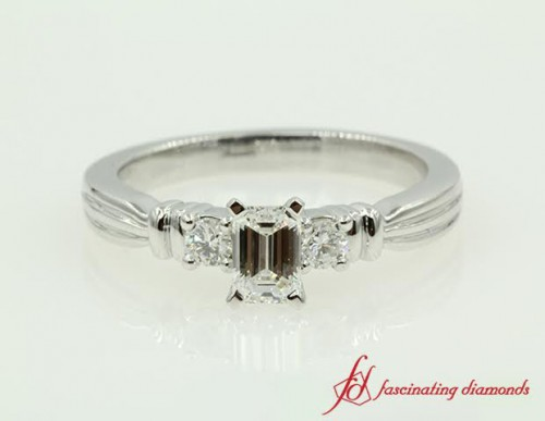 Emerald Cut 3 Stone Diamond Engagement Ring