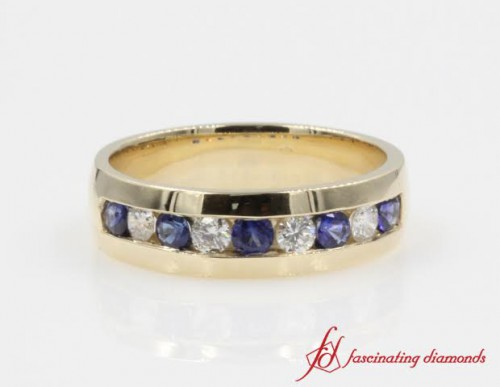 Mens Diamond & Sapphire Wedding Ring