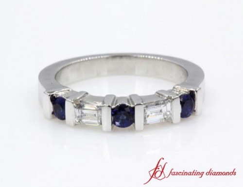 Round Sapphire & Baguette Wedding Band