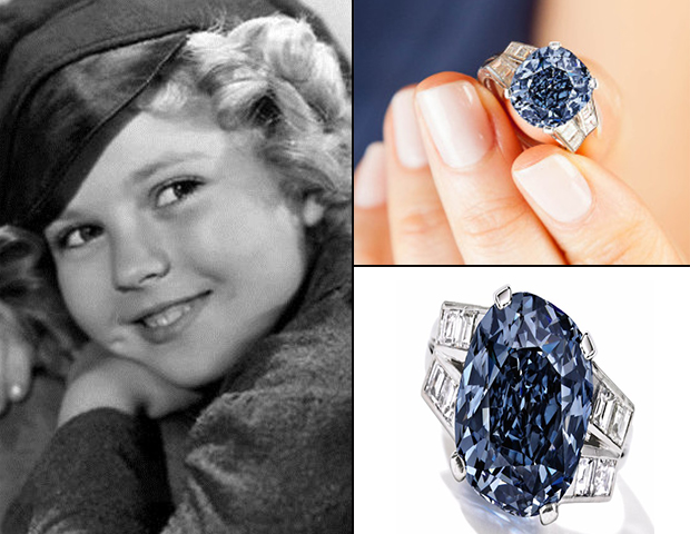 Shirley Temple's Blue Cushion Cut Diamond Ring for Auction