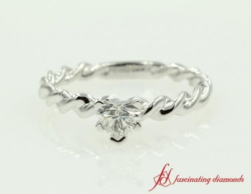 Heart Rope Solitaire Diamond Ring