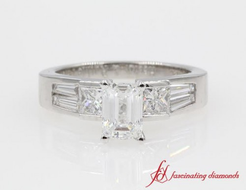 Emerald Cut Diamond & Baguette Accents Ring