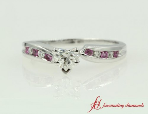 Channel Twist Pink Sapphire Ring