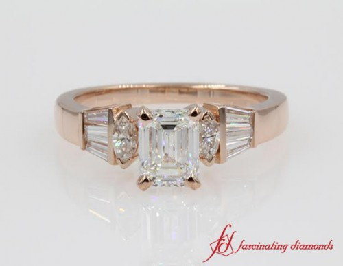 Baguette Bar Set Emerald Cut Diamond Ring