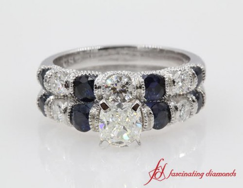Cushion Cut Diamond & Sapphire Bridal Set