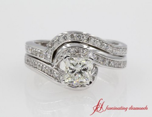 Princess Cut Swirl Wedding Set