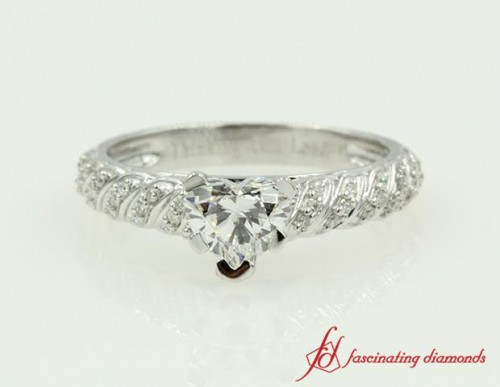 White Gold Pave Twist Diamond Ring