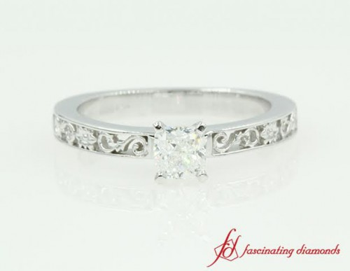 Antique Nature Inspired Solitaire Diamond Ring