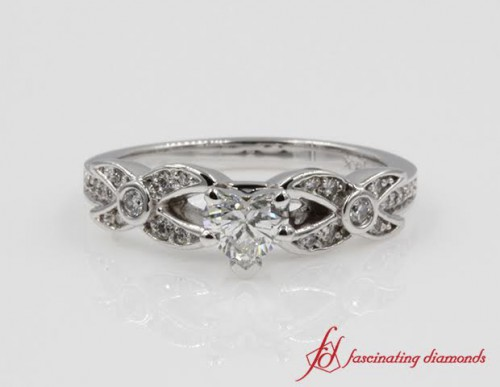 X Pattern White Gold Engagement Ring