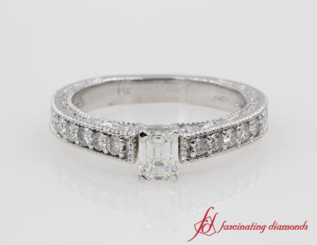 Emerald Cut Diamond Milgrain Ring