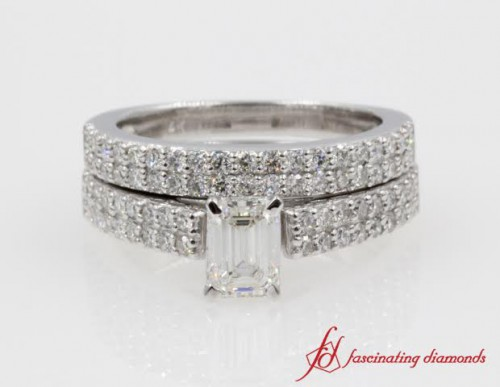 Emerald Cut Dual Row Diamond Bridal Set