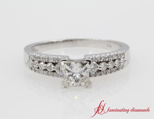Princess Cut Diamond 3 Row Engagement Ring