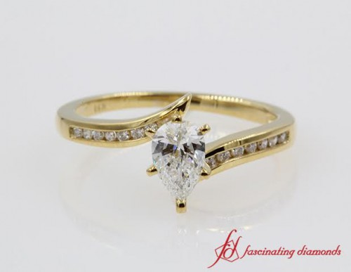 Twisted Pear Diamond Engagement Ring