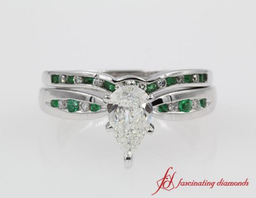 Pear Diamond & Emerald Bridal Set