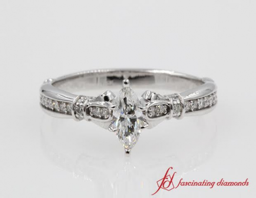 Marquise Diamond Tilted Band Ring