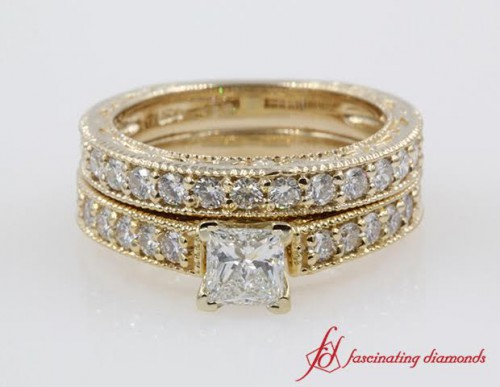 Milgrain Princess Cut Diamond Wedding Set