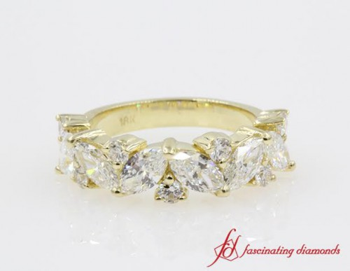 Marquise & Round Diamond Wedding Band