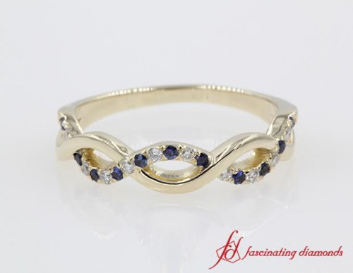 Twist Sapphire & Diamond Wedding Band