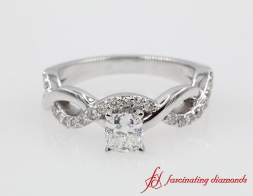 Cushion Cut Diamond Twist Ring