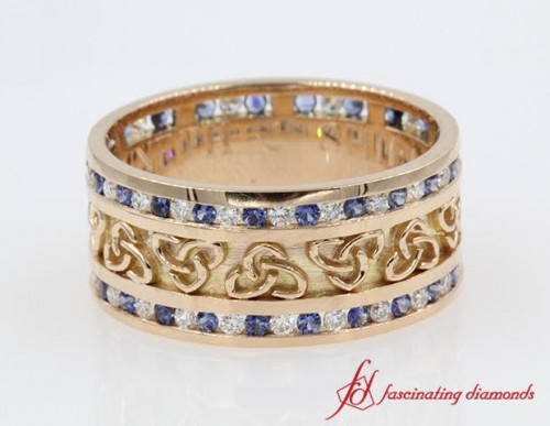 3 Row Diamond & Sapphire Wedding Band