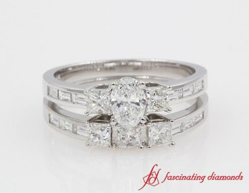 Three Stone Diamond Wedding Set For Her