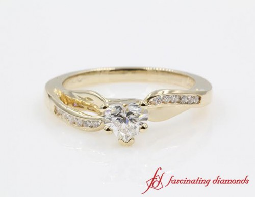 Gold Heart Diamond Twist Ring